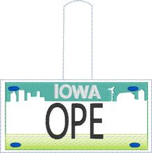 Iowa Plate Embroidery Snap Tab