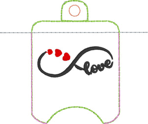 Infinity Love Hand Sanitizer Holder Eyelet Version In the Hoop Embroidery Project 1 oz BBW for 4x4 hoops