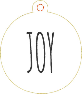 Set of THREE Farmhouse PEACE, LOVE, and JOY Christmas Ornaments for 4x4 hoops
