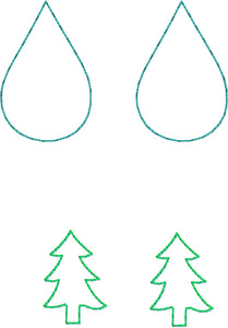 Christmas Tree Layers Earrings embroidery design for Vinyl and Leather