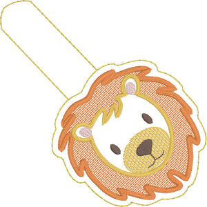 Lion Face snap tab embroidery design