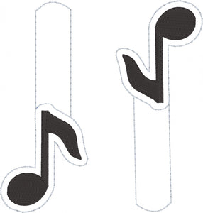 Music Note snap tab In The Hoop embroidery design