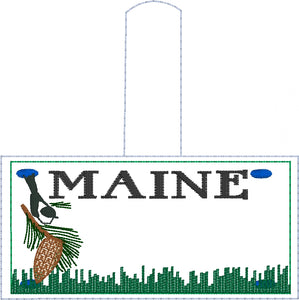 Maine Plate Embroidery Snap Tab