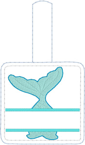 Mermaid Tail snap tab Personalized Tag for 4x4 hoops