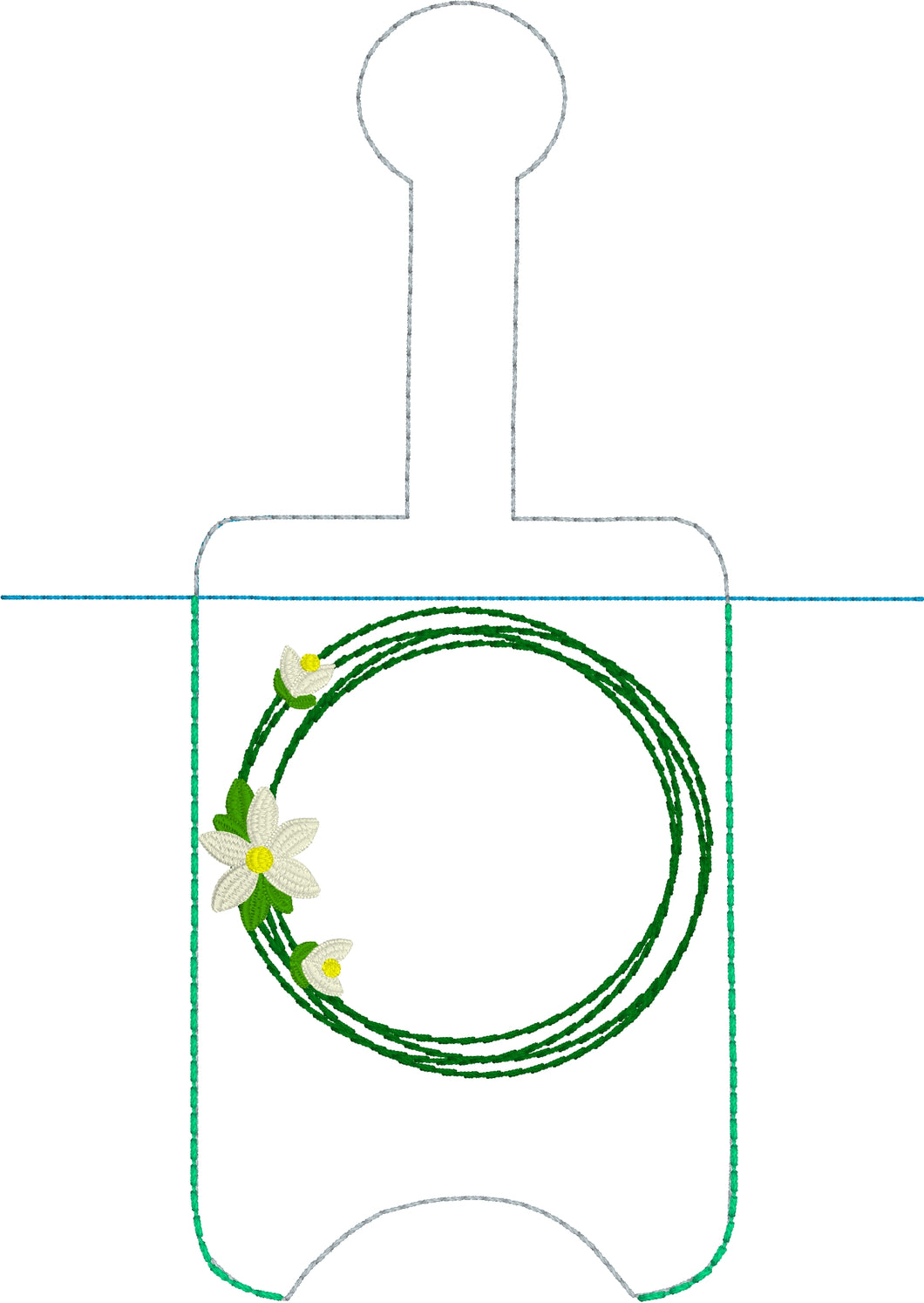 Rain Lily Monogram Hand Sanitizer Holder Snap Tab Version In the Hoop Embroidery Project 3 oz DT for 5x7 hoops