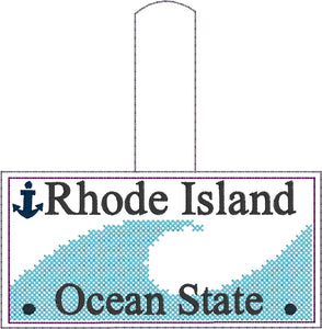 Rhode Island Plate Embroidery Snap Tab