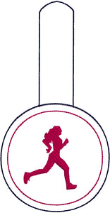 Running Girl snap tab - Backpack/Keyfob tag embroidery design