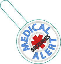 Medical Alert SEIZURES snap tab embroidery design
