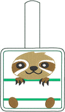 Sloth Personalized snap tab In the Hoop embroidery design