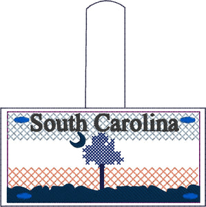 South Carolina Plate Embroidery Snap Tab