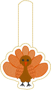 Turkey snap tab In the Hoop embroidery design