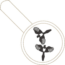 Two Magpies snap tab In the Hoop embroidery design