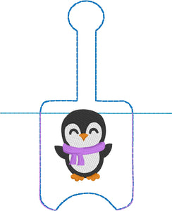 Penguin Hand Sanitizer Holder Snap Tab Version In the Hoop Embroidery Project 1 oz BBW for 5x7 hoops