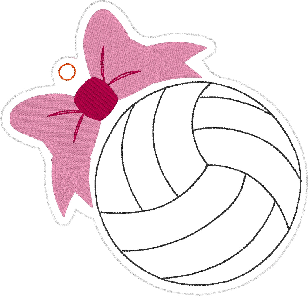 Volleyball with Bow Eyelet Tag Ornament