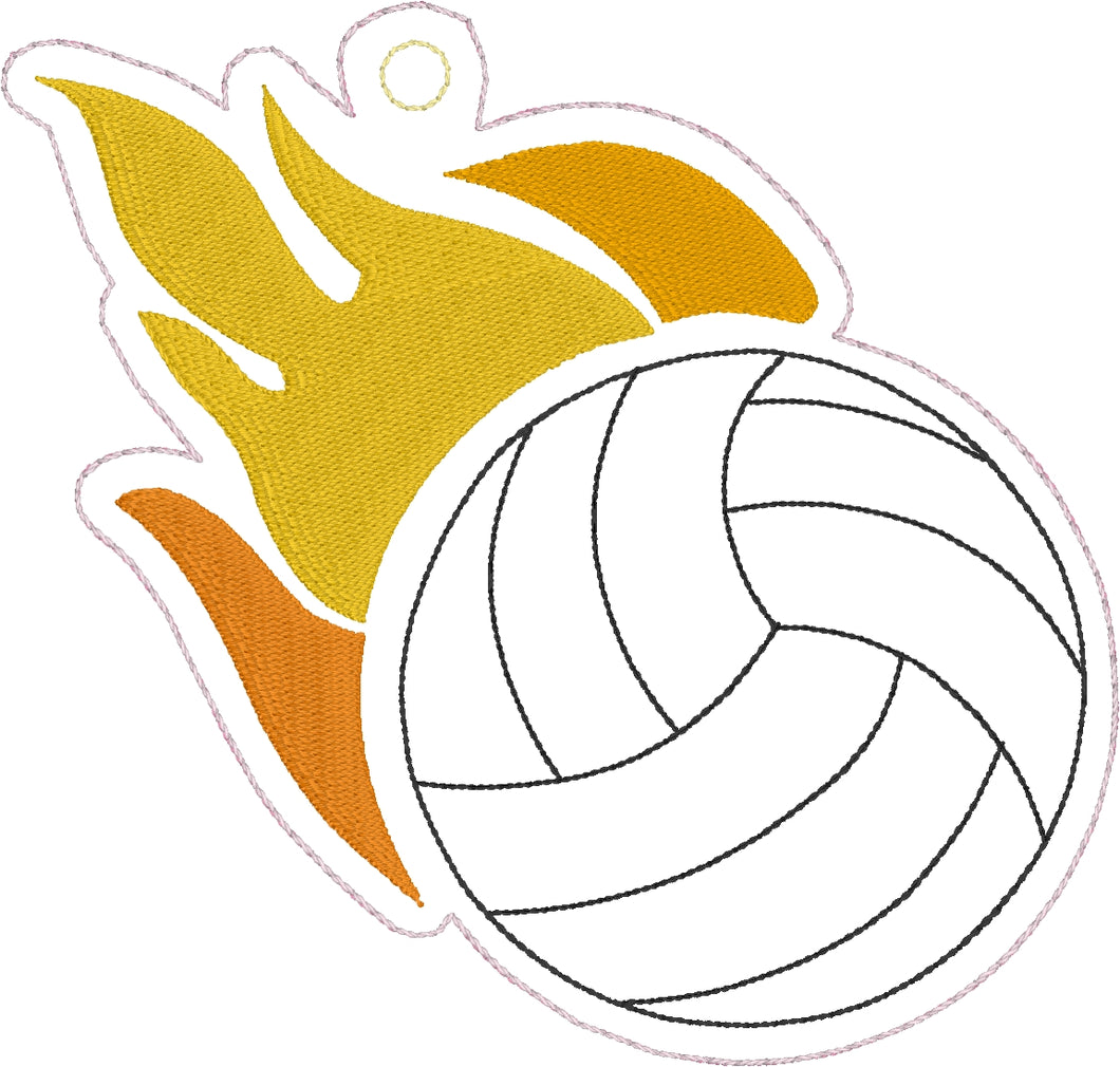 Volleyball with Flames Eyelet Tag Ornament