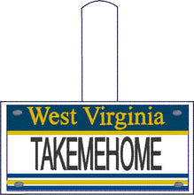 West Virginia Plate Embroidery Snap Tab