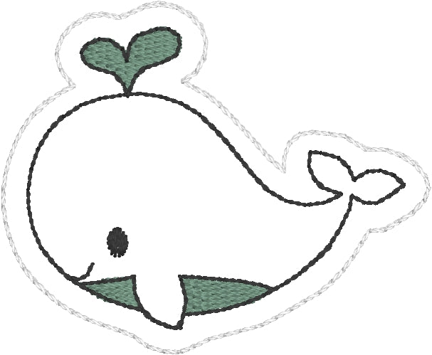 Whale Feltie embroidery design