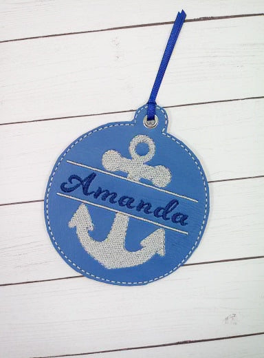 Anchor Personalized Ornament for 4x4 hoops