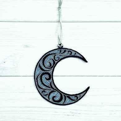Swirl Moon Freestanding Lace Ornament for 4x4 hoops