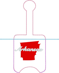 Arkansas Hand Sanitizer Holder Snap Tab Version In the Hoop Embroidery Project 1 oz BBW for 5x7 hoops
