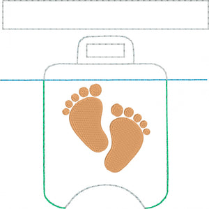4x4 Baby Feet Hand Sanitizer Holder Snap Tab In the Hoop Embroidery Project
