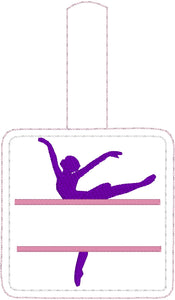 Ballerina snap tab Personalized Bag Tag for 4x4 hoops