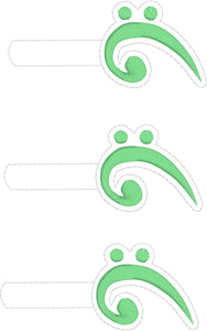 Bass Clef snap tab In The Hoop embroidery design