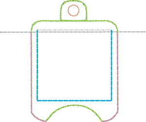 4x4 BLANK with POCKET Hand Sanitizer Holder EYELET VERSION In the Hoop Embroidery Project