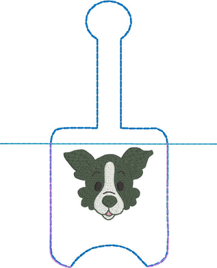 Border Collie Hand Sanitizer Holder Snap Tab Version In the Hoop Embroidery Project 1 oz BBW for 5x7 hoops