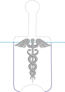 Caduceus Hand Sanitizer Holder Snap Tab Version In the Hoop Embroidery Project 3 oz DT for 5x7 hoops