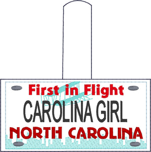 North Carolina Plate Embroidery Snap Tab