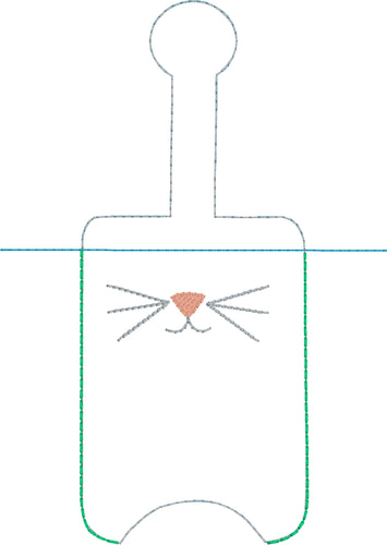 Cat Face Kitty Face Hand Sanitizer Holder Snap Tab Version In the Hoop Embroidery Project 3 oz for 5x7 hoops