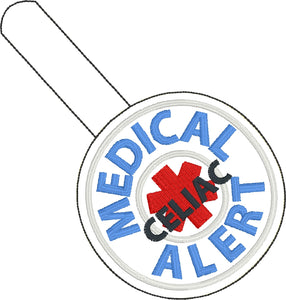 Medical Alert Celiac snap tab embroidery design