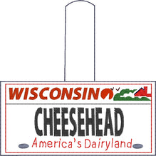 Wisconsin Plate Embroidery Snap Tab