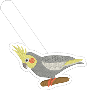 Cockatiel Snap tab In the Hoop embroidery design