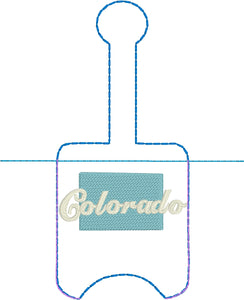 Colorado Hand Sanitizer Holder Snap Tab Version In the Hoop Embroidery Project 1 oz BBW for 5x7 hoops