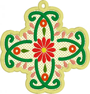Como La Flor Floral Cross Freestanding Lace Bookmark for 4x4 hoops