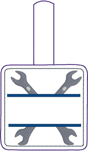 Crossed Wrenches snap tab Personalized Bag Tag for 4x4 hoops