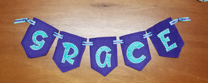 DIY Spikey Applique Banner In the Hoop Project for 5x7 Hoops