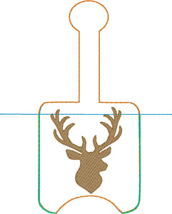 Deer Head Hand Sanitizer Holder Snap Tab Version In the Hoop Embroidery Project 2 oz DT for 5x7 hoops