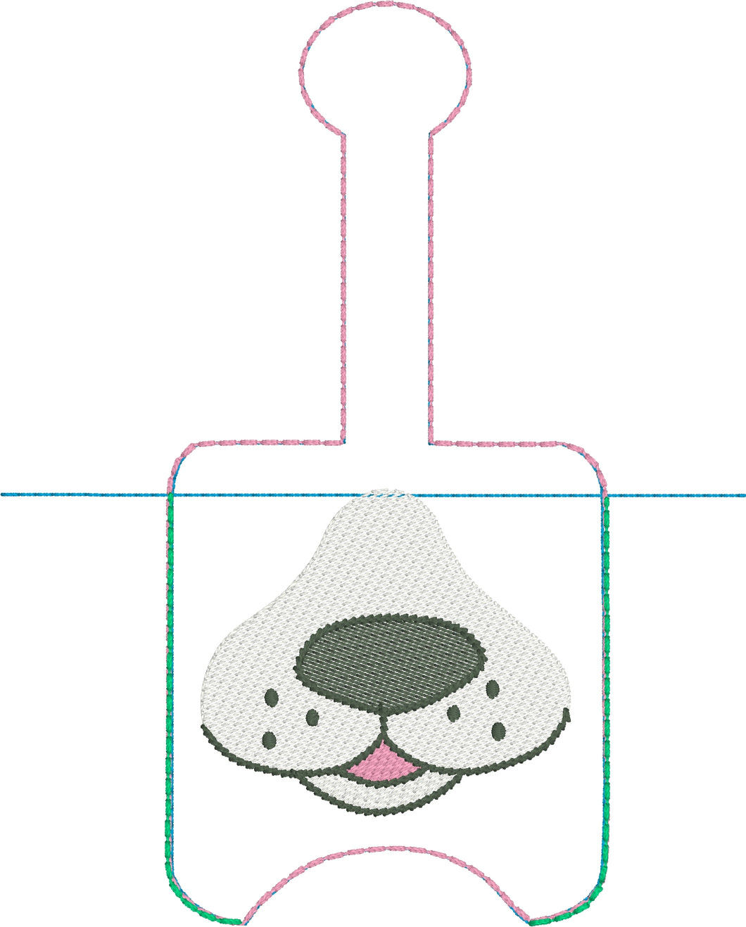 Dog Face Hand Sanitizer Holder Snap Tab Version In the Hoop Embroidery Project 2 oz for 5x7 hoops