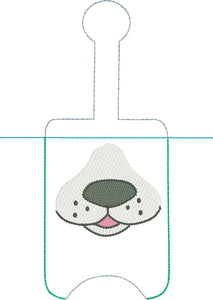 Dog Face Hand Sanitizer Holder Snap Tab Version In the Hoop Embroidery Project 3 oz for 5x7 hoops