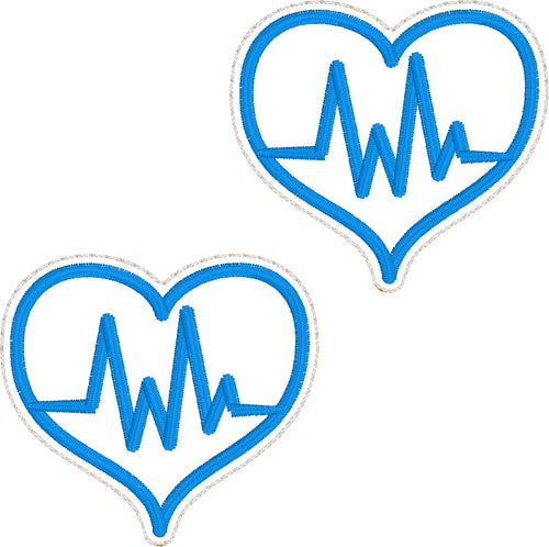 Nurse EKG Heart Feltie embroidery design