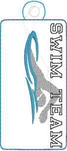 SWIM TEAM Snap Tab and Eyelet Tag Design