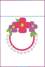 Flowers and Pearls Monogram Frame Pen Pocket In The Hoop (ITH) Embroidery Design