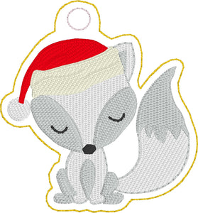 Wintery Fox Christmas Ornament for 4x4 hoops