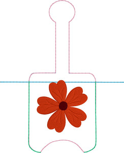 Geranium Hand Sanitizer Holder Snap Tab In the Hoop Embroidery Project