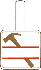 Hammer snap tab Personalized Bag Tag for 4x4 hoops
