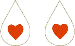 Heart Teardrop Earrings embroidery design for Vinyl and Leather