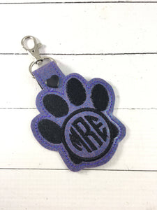 BLANK Paw Print tag snap tab for 4x4 hoops-BBED-Add your own image or monogram lettering-ITH paw snap tab or key fob tag-monogram silhouette